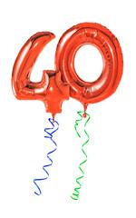 Rote Luftballons mit Geschenkband - Nummer 40