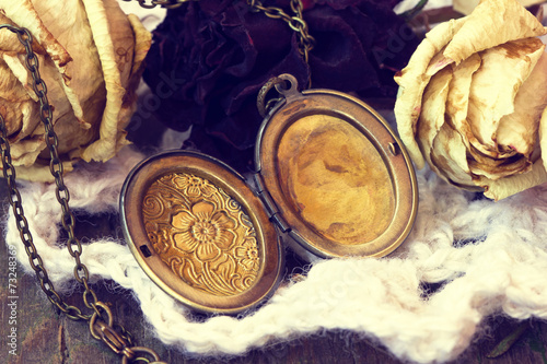 Foto op Canvas Retro beautiful antique locket