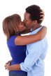 African American young couple kissing - Black people
