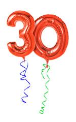 Rote Luftballons mit Geschenkband - Nummer 30