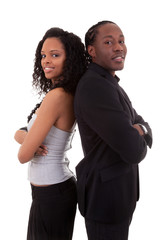African American couple back to back - Black people
