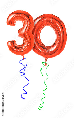 Leinwandbild Motiv Rote Luftballons mit Geschenkband - Nummer 30