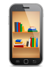 Mobile phone with bookshelves on screen.