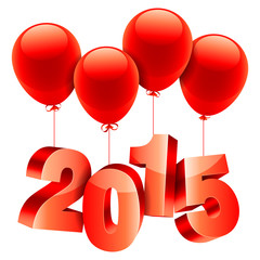 2015 New Year number flying on red balloons.