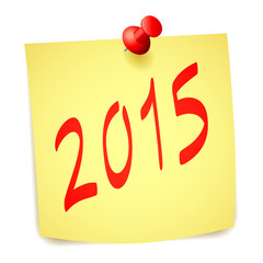 Pinned 2015 New Year paper note.