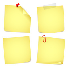 Collection of 4 yellow paper notes.