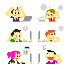 vector business people and various behavior in office