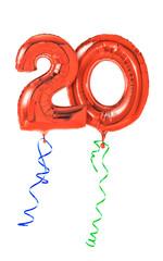Rote Luftballons mit Geschenkband - Nummer 20