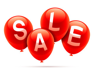 Shiny red balloons with sale announcement.