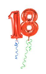 Rote Luftballons mit Geschenkband - Nummer 18