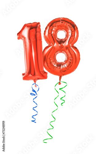 Rote Luftballons mit Geschenkband - Nummer 18 - 73248919