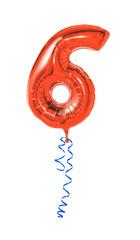 Roter Luftballon mit Geschenkband - Nummer 6