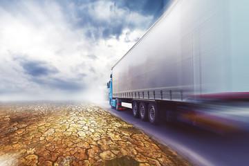 Speeding truck on desert road