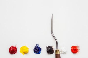 palette knife and oil paint on linen artist canvas