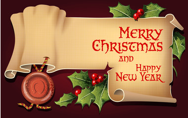 Vector background with antique scroll for Christmas