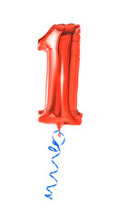 Roter Luftballon mit Geschenkband - Nummer 1