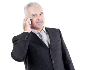 business man talking to mobile