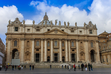 Rome, Italy. Typical urban view. St. Peter's Cathedral in Vatica