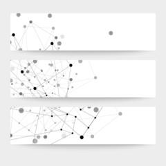Set of digital backgrounds for communication, molecule structure