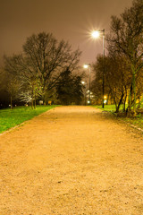 Lighted gravel path in the park