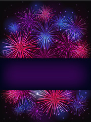 banner over purple fireworks