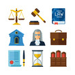 Law icons set in flat design style. - 73252178