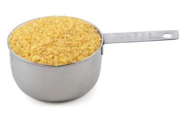 Bulgur wheat in a cup measure