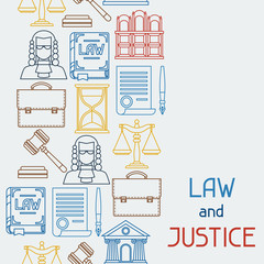 Law and justice icons seamless pattern in flat design style.