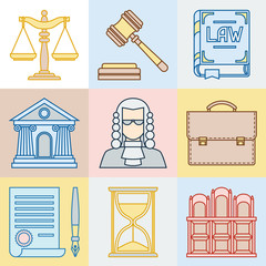 Law contour icons set in flat design style.