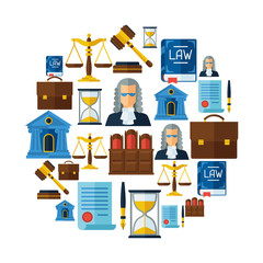 Law icons background in flat design style.