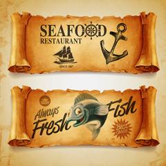 restaurant menu seafood marine
