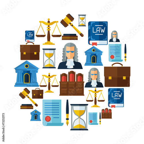 Law icons background in flat design style. - 73252173