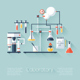 Chemistry education research laboratory equipment. Flat style