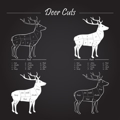 Deer meat cut scheme - elements on blackboard