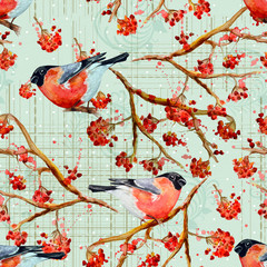 vintage seamless texture with cute birds watercolor