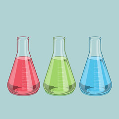 Red, green and blue liquid. Erlenmeyer flask 1000ml.