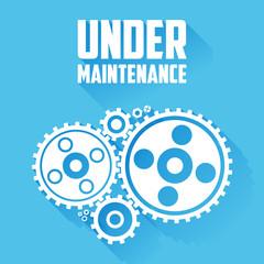White Cogwheels. Under maintenance website page message.