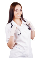 smiling woman doctor in uniform. isolated