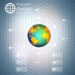Infographic template for business design, hexagonal design