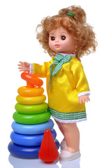 Vintage doll in yellow dress with pyramid