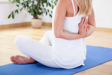 Woman preventing back pain