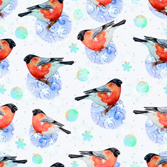 nature with bullfinch seamless texture watercolor