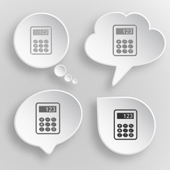 Calculator. White flat vector buttons on gray background.