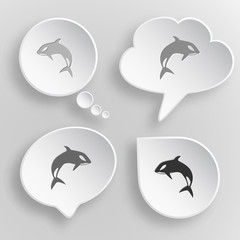Killer whale. White flat vector buttons on gray background.