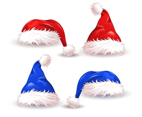 Blue red. Christmas hat