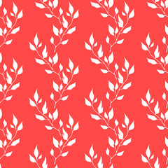 White vector seamless leaves isolated on red