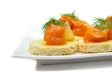 appetizer platter with salmon
