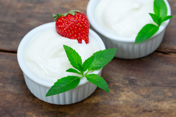 organic Greek yogurt and strawberry