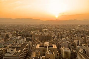 Sunset over Kyoto City