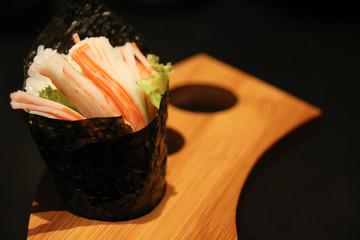 Temaki sushi in japanese cusine